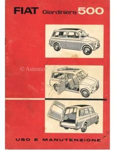 1960 FIAT 500 GIARDINIERA OWNERS MANUAL ITALIAN
