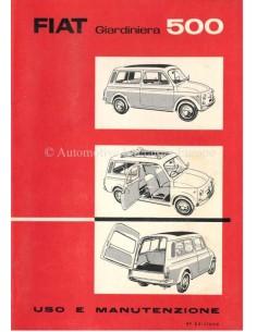 1964 FIAT 500 GIARDINIERA OWNERS MANUAL ITALIAN