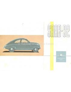 1953 SAAB 92 BROCHURE ENGELS