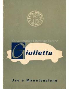 1959 ALFA ROMEO GIULIETTA BETRIEBSANLEITUNG ITALIENISCH