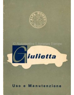 1959 ALFA ROMEO GIULIETTA OWNERS MANUAL ITALIAN