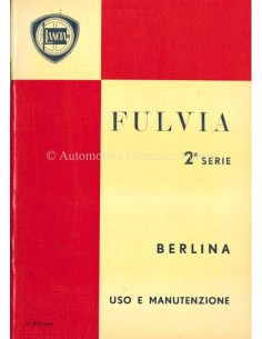 1971 LANCIA FULVIA BERLINA BETRIEBSANLEITUNG ITALIENISCH