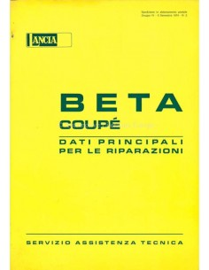 1974 LANCIA BETA COUPE MAIN DATE FOR REPAIR WORKSHOP MANUAL ITALIAN