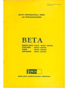 1976 LANCIA BETA MAIN DATE FOR REPAIR WORKSHOP MANUAL ITALIAN