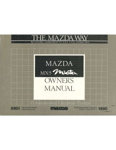 1990 MAZDA MX-5 MIATA OWNERS MANUAL ENGLISH