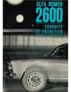 1962 ALFA ROMEO 2600 BETRIEBSANLEITUNG FRANZÖSISCH
