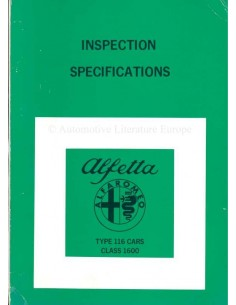 1976 ALFA ROMEO ALFETTA INSPECTION SPECIFICATIONS WORKSHOP MANUAL
