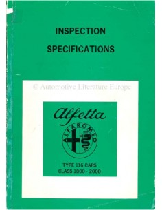 1978 ALFA ROMEO ALFETTA INSPECTION SPECIFICATIONS WORKSHOP MANUAL