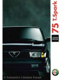 1991 ALFA ROMEO 75 T.SPARK LIMITED EDITION BROCHURE NEDERLANDS
