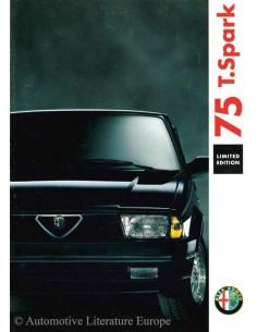 1991 ALFA ROMEO 75 T.SPARK LIMITIERTE AUFLGAE PROSPEKT DEUTSCH