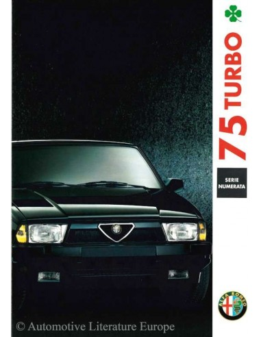 1991 ALFA ROMEO 75 TURBO QV LIMITED EDITION BROCHURE ITALIAANS