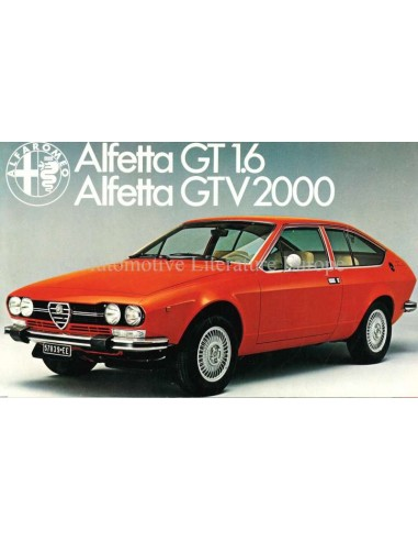 1977 ALFA ROMEO ALFETTA GT 1.6 / GTV 2000 BROCHURE DUTCH
