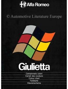 1977 ALFA ROMEO GIULIETTA COLOUR CHART BROCHURE