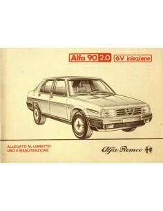 1984 ALFA ROMEO 90 2.0 V6 INIEZIONE INSTRUCTIEBOEKJE BIJLAGE ITALIAANS