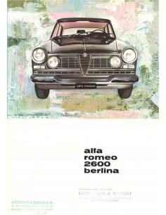 1962 ALFA ROMEO 2600 SALOON BROCHURE ITALIAN