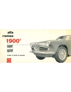 1957 ALFA ROMEO 1900C SUPER SPRINT BROCHURE ENGLISH
