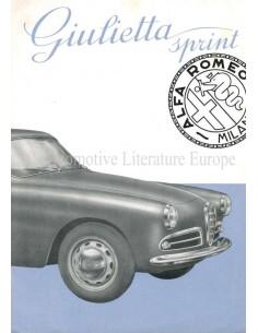 1954 ALFA ROMEO GIULIETTA SPRINT BROCHURE ITALIAN
