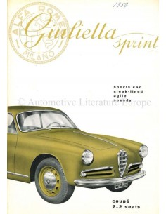 1955 ALFA ROMEO GIULIETTA SPRINT BROCHURE ENGLISH