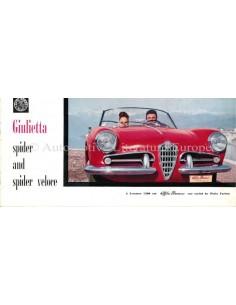 1958 ALFA ROMEO GIULIETTA SPIDER VELOCE BROCHURE ENGLISH