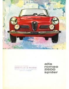 1962 ALFA ROMEO 2600 SPIDER BROCHURE ITALIAN
