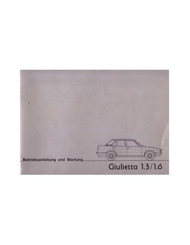 1977 ALFA ROMEO GIULIETTA INSTRUCTIEBOEKJE DUITS