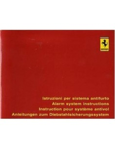 1996 FERRARI ALARM SYSTEM INSTRUCTIONS OWNERS MANUAL