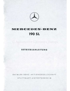 1959 MERCEDES BENZ 190 SL OWNERS MANUAL GERMAN