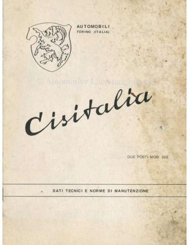 1947 CISITALIA 202 OWNERS MANUAL ITALIAN