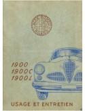 1952 ALFA ROMEO 1900 OWNERS MANUAL FRENCH