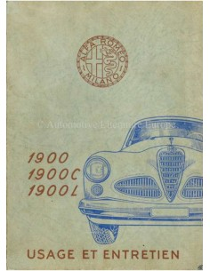 1952 ALFA ROMEO 1900 OWNERS MANUAL FRENCH