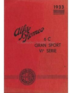 1933 ALFA ROMEO 6C GRAN SPORT 6A SERIE BETRIEBSANLEITUNG ZUSATZ ITALIENISCH