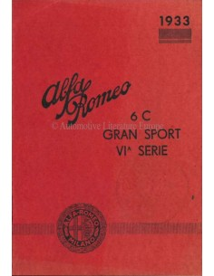 1933 ALFA ROMEO 6C GRAN SPORT 6A SERIE OWNERS MANUAL SUPPLEMENT ITALIAN