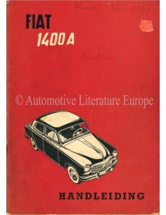 1955 FIAT 1400A BETRIEBSANLEITUNG NIEDERLÄNDISCH