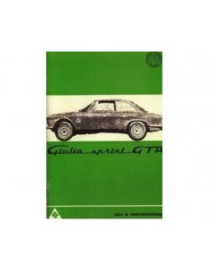 1965 ALFA ROMEO GIULIA SPRINT GTA OWNERS MANUAL