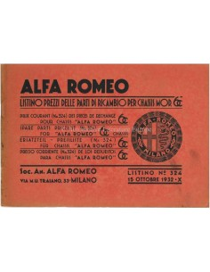 1932 ALFA ROMEO 6C 1500 / 1750 SPARE PARTS MANUAL PRICELIST ITALIAN
