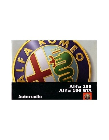 2002 ALFA ROMEO 156 GTA RADIO AUDIO INSTRUCTIEBOEKJE NEDERLANDS