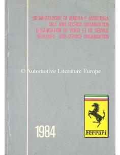 1984 FERRARI VERKAUFS - UND SERVICE ORGANISATION HANDBUCH 297/84