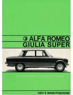 1967 ALFA ROMEO GIULIA 1600 SUPER OWNERS MANUAL ITALIAN