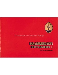 1986 MASERATI BITURBO II OWNERS MANUAL ITALIAN