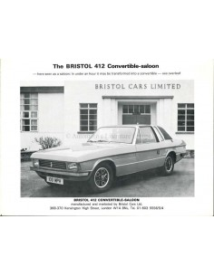 1976 BRISTOL 412 CONVERTIBLE-SALOON PROSPEKT ENGLISCH
