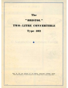 1949 BRISTOL 402 CONVERTIBLE BROCHURE ENGLISH