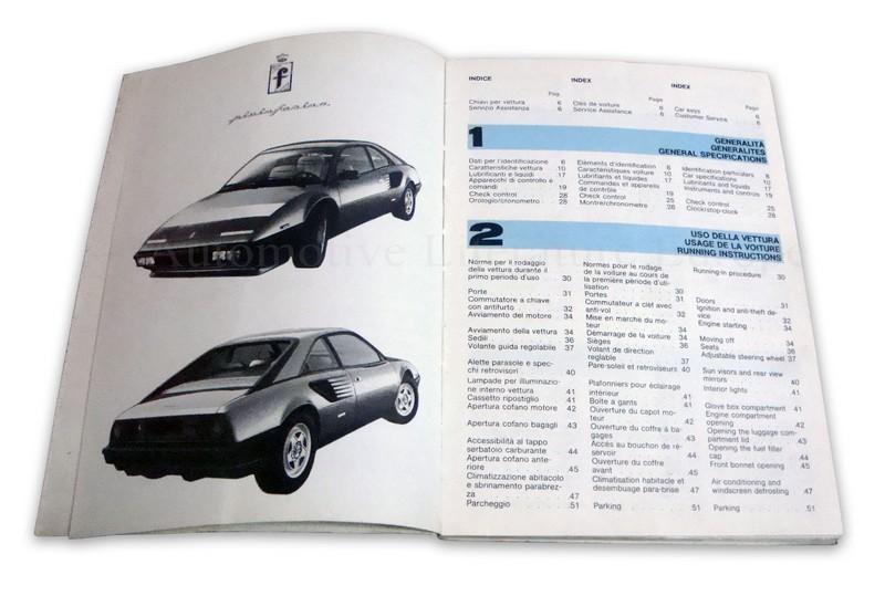 1984 ferrari mondial quattrovalvole instructieboekje usa 308 84. Black Bedroom Furniture Sets. Home Design Ideas