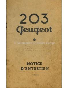 1959 PEUGEOT 203 BETRIEBSANLEITUNG FRANZÖSISCH