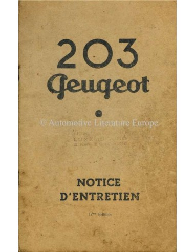 1959 PEUGEOT 203 OWNERS MANUAL FRENCH