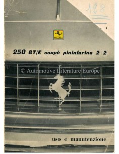 1961 FERRARI 250 GT/E COUPE PININFARINA OWNERS MANUAL ITALIAN