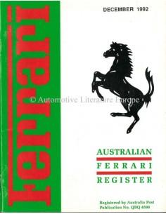1992 FERRARI AUSTRALIAN REGISTER MAGAZINE ENGLISH