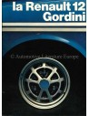 1972 RENAULT 12 GORDINI BROCHURE FRENCH