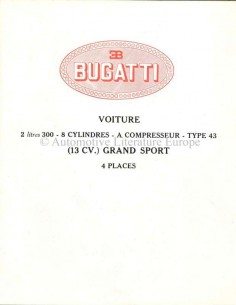 1927 BUGATTI TYPE 43 GRAND SPORT BROCHURE FRENCH