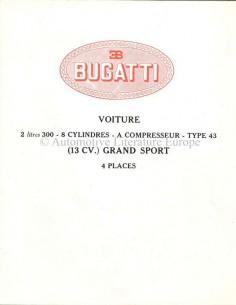 1927 BUGATTI TYPE 43 GRAND SPORT BROCHURE FRENCH