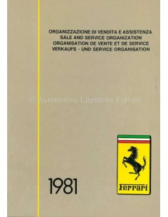 1981 FERRARI SALE & SERVICE ORGANIZATION MANUAL 192/80